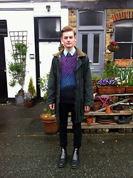 Joe Graham - Vintage Coat, Vintage Mint Silk Shirt, Ragged Priest Dip Dye Knitwear, Topman Black Skinny Fit Jeans, Dr. Martens Black Docs - Minty fresh