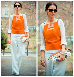 Veronica P - Ralph Lauren Pants, French Connection Uk Clutch, Diy Leather Top - New DIY leather top