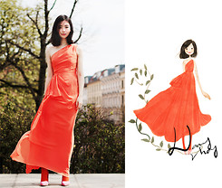 Nancy Zhang - Alberta Ferretti For Impulse Only At Macy's Dress, Asos Heels - Color blocking.