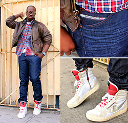 Duane Bonaparte - Diesel High Top Zip Up Sneakers, Vintage Leather Jacket - A Walk To The Corner Store..