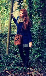 Erin Catherine - Forever 21 Royal Blue Felt Peacoat, Vintage Leather Messenger Back, Vintage Green Fringe Scarf, Express Checked A Line Skirt, American Apparel Black Cotton Leggings, Anne Klein Leather Riding Boots - For the Price of a Cup of Tea