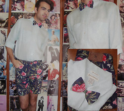 Ro Covarrubias - Banana Republic Linen Shirt, Ralph Lauren Floral Short, Made By Me With The Extra Fabric Of Shorts Bow Tie - My Favorite Bow Tie.