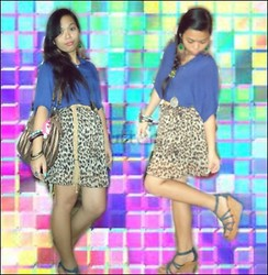 Jade Revil - Blue Loose Top, Leopard Skirt, Blue Wedge, Secosana Bag - Handle me with care