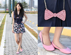 Sophie Ramos - Personalized Accessories Ribbon Glittered Necklace, Shoe Library Pink Flats, Little Nook Top - Summer Blues