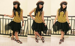 Evelyn Tirza - Cloth Inc Fairytale, Charles & Keith Gladiator, Auburn And Ginger Polkadot, Grinitty Shop Bowler - Golden Black