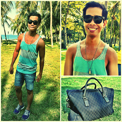 Alvin Miranda - H&M Grey   Light Green   Striped Sleeveless Shirt Divided, Folded & Hung Cropped Old Jeans, Nike Purple Running Shoes, Gucci Large Brown Duffel Travel Bag In Gg Print - Like the stars miss the sun in the morning skies