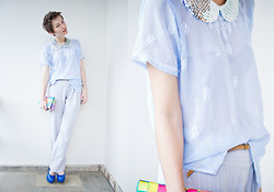 Barbara Zanella - Handmade Glam Collar, Vintage Top, Makenji Pants, Dylan Clutch Bag, Charlotte Russe Blue Shoes - B-Day Look!