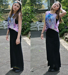 Tash P - Jewel Headband, Vintage Cross Necklace, Forever 21 Zebra Tank, Pacsun Maxi, Laceups - She Takes Me High