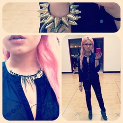 Laura Sanchez - Forever 21 Spikes Bracelet, Forever 21 Studed Tribal Necklace, H&M Sheer Blouse, Pacsun Acid Wash Pants - Loving spikes! <3