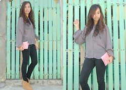 SalveeLangella Retuya - Forever 21 Sheer Top, Softcore Clutch, Wade Booties - Grey sky Morning