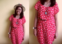 Aira Mercado - Hat, Forever 21 Red Dress, Sm Accessories Vintage Necklace, Belt, Puma Watch - Cherry Blossoms