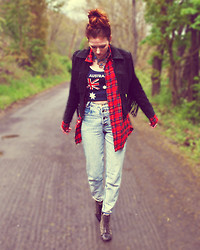 Amelia A - Wilson's Leather Suede Jacket, Unknown Flannel, Unknown Flag Tank, Thrifted 80s Mom Jeans -  sunday sobriety test