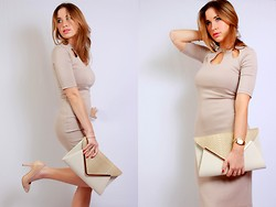 Arina T-S - River Island Nude Dress, Miss Selfridges Leather Clutch, Topshop Silver Toe Heels - We walked together, walking alone