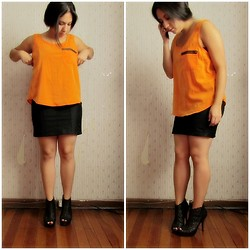 Gaby Fuentes - Opposite Orange Top, Basement Black Skirt (Dress), Aldo Black Shoes - Relax & Work