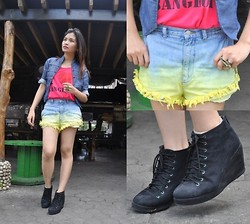 Kissa A. - Bangkok Booties, Bangkok Tank Top, Stylista,Inc. Scorpion Ring, The Factory Dip Dyed Shorts - Hip in Pink