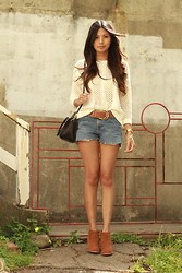Megan Rose - Mango Open Knit, Levi's® Vintage Cutoffs - Warmth&breeze.