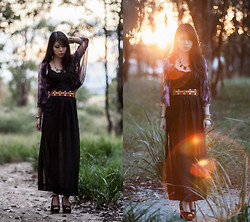 Isabel Z - Sheinside Sheer Maxi Skirt, Forcast Kimono Cardigan - Unearthly desires