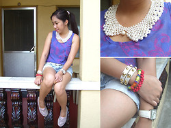 Yen Birao - Just Chic Sheer Tank Top, Elisha Collections Collar Necklace, Girlshoppe Studded Leather Bracelet - Happy Labor Day!