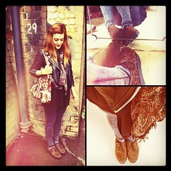 Lucie Kerley - Swagga And Soul Daisy Leather Biker Jacket, Schuh Cabe Platform Lace Up Leopard Flatforms, Primark Acid Wash Effect Black/Grey Leggings, Gift Off My Nan Carpet Bag, Primark Paisley Print Scarf - Wearing Leopard Flatforms Gives You Swagga!