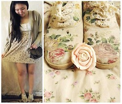 Lee.Sze ♥ - Vintage Second Hand Store Oversized Cardigan, Vintage Second Hand Store Bag, Stradivarius Floral Skirt, Topshop White Top, Floral Shoes - (✿◠‿◠)