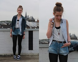 Laura A. - Secondhand Jacket, Topshop Vest, Forever 21 Chain, Secondhand Shorts, Vans Slip On's - Where you can't get what you want but you can get me