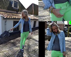 Ellis In Fashionland - H&M Grey Bag With Suede Details, Zara Neon Pants, Lee Denim Shirt, Vans Sneakers, Cos Grey Top, H&M Necklace Gemstones, Jimmy Choo Bracelet Stones - I've got this neon feeling