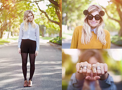 Amy S - Mr Price Mustard Jersey, Mr Price Brogue Heels, Shirt, Beginning Boutique Shorts, Glasses - Oh Hiii
