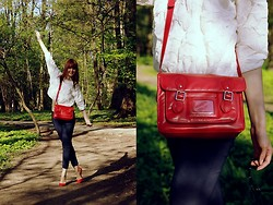 Ewa B. - Zara Sweater, Romwe Bag, H&M Pants - White, red, navy, red.
