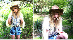 Wyn Mroczkowski - Vintage Hawian Shirt, Jessica Simpson Felt Hat, Thrifted Diy Tye Dye Shorts, Thrifted Faux Fur Vest - I'll get my things together and find some place to stay