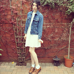 Sian Conway - Levi's® Levi's Denim Jacket, Zara Lace Dress, Office Brogues, Topshop Frilly Ankle Socks - Denim and lace