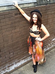 Megan Meenan - Handmade Bralet Top, Romwe Galaxy Skirt - Galaxy and studs