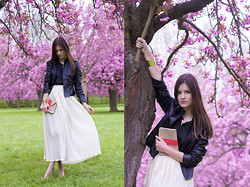 French Diary D - American Apparel Accordion Pleat Maxi Skirt, Bcbg Leather Jacket - Cherry blossoms
