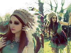 Natanya Waybourne - Rouge Pony Feather Head Dress, Love Scrabble 'Love' Rings, Atmosphere Bird Ring, Vintage Bell Necklace, Bionic Unicorn Rose Necklace, Flutterbydaisy Green Fairy Dress - On the Banks of The River...