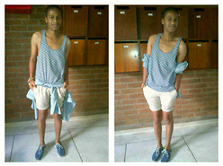 Bongani Tau - Jay Jays Polka Dot Tank Top, Old Khakhi Denim Shirt (Tied Around The Waist), Trigger Shorts, Mr Price Boat Shoes, Gift From Boyfriend Necklace (Worn As A Bracelet) - Enjoy it while it last