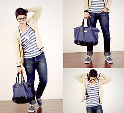 Seph Cham - Memo Cardigan, Topman Top, Chemistry Camera Pendant, Bench Jeans, Sm Accessories Bag And Eyeglasses - Stripeys and cardigans - Seph