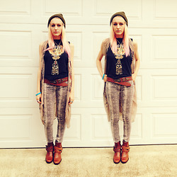 COURTNEY B - Urban Outfitters Snakeskin Pants, Thrifted Leather Boots, Urban Outfitters Beanie, Vintage Ankh, Vintage Middle Eastern Necklace, Thrifted Leather Belt, Thrifted Harley Davidson Shirt, Bike For Kam - BIKE FOR KAM