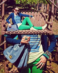 Paulina P. - Love Turquoise Bracelet, Halogen Navy Sweater, J. Crew Top, Bdg Green Pants, Jeffrey Campbell Nude Flats, Vieta Purse, Francesca's Wrap Bracelet, A. J. Morgan Cat Eye Sunglasses - Je Suis Un Fou D'Amour