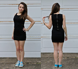 Tash P - Forever 21 Zipper Dress, Zipper Bracelet, Converse Bright Blue - Zip