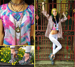 Vera G. - Daniela Wood Print Blazer, Buffalo Exchange Tye Dye Crop Top, Jeffrey Campbell Snake Skin Pumps - I Just Need to Check Inside...