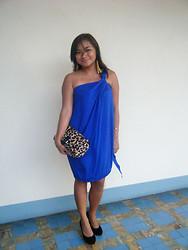 royal blue dress with leopard print shoes