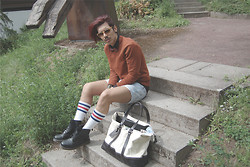 Kevin Nicolas - American Apparel Socks, Tommy Hilfiger Bag - University outfit.