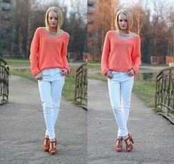 Margarita Vasilieva - Parfois Necklace, Respect Heels, New Look Peach Knit, Zara White Jeans - Lovely May