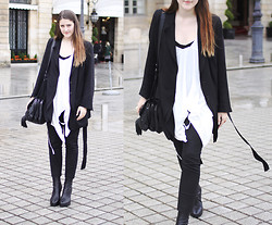 Charlie M - Ann Demeulemeester Layered Lazer, Ann Demeulemeester White Drape Top, Acne Studios Tight Black Trouser, Mimco Tassle Bag, Ann Demeulemeester Wedge Boots - WEEKEND IN PARIS