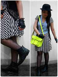 Grace Ng - Cambridge Satchel Company Fluoro, Mango Studded Vest, Deena & Ozzy Ankle Boots - May The Fourth Be With You