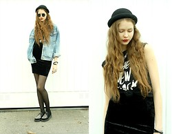 Elina I - Edwin Denim Jacket, Weekday Velvet Skirt, H&M Hat, Monki T Shirt - Stained crimson on the ground