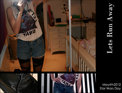 Amelia Orchard-Smith - Zara Tshirt, Office Creepers, Denim Vintage Shorts, Vintage Tights - Lets Run Away