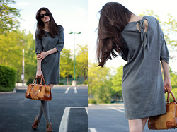 Tatiana Salia - Club Monaco Dress, Calvin Klein Knee Socks, Luxury Rebel Shoes, Loewe Bag - Shades of Gray...