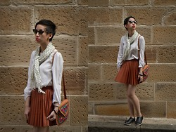 Nora Finds - Asos Brogue, Vintage Cat Eye Sunglasses, Sussan Polkadot Scarf, Zara White Top, Show Pony Fever Skirt In Tan, Gifted Bag From Kuwait - Autumn Pleats