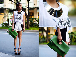 Laureen Uy - Bring Necklace, Crow Top, Vantan Manila Shorts, Atl Manila Bag, Gold Dot Wedges - A Pop Of Color (BMS)