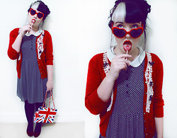 Shannen VM - Friends Of Couture Cardigan, Sportsgirl Peter Pan Collar Dress, Heart Shaped Glasses, Velvet Flats, Dangerfield Union Jack Bag - She was lo, plain lo in the morning